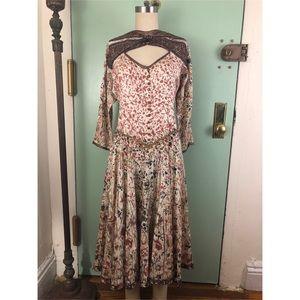 Silk-Embellished Beaded Butterfly-Drop Waist-Dress